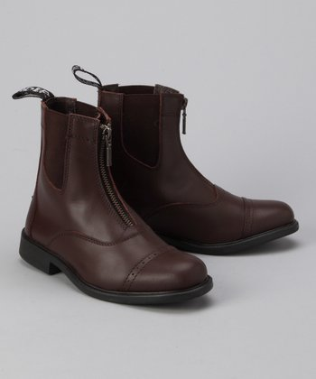 Brown Zip Leather Paddock Boot - Kids