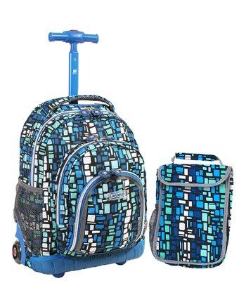 JWorld Blue Squares Rolling Backpack & Lunch Bag
