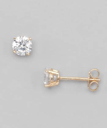 Clear Cubic Zirconia & Gold Stud Earrings