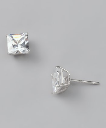 Crystal Princess-Cut Stud Earrings