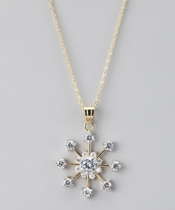 Silver & Gold Snowflake Pendant Necklace
