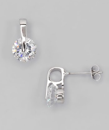 Silver & Cubic Zirconia Solitaire Stud Earrings