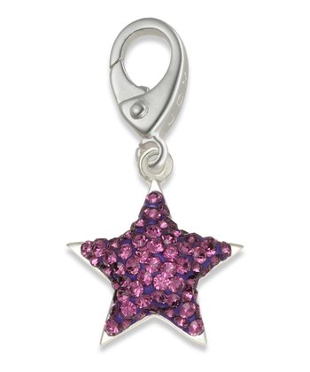 Sterling Silver Purple Crystal Star Charm
