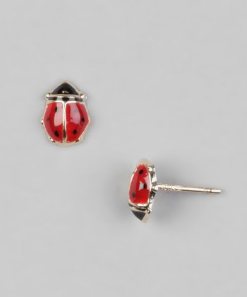Gold & Red Ladybug Stud Earrings