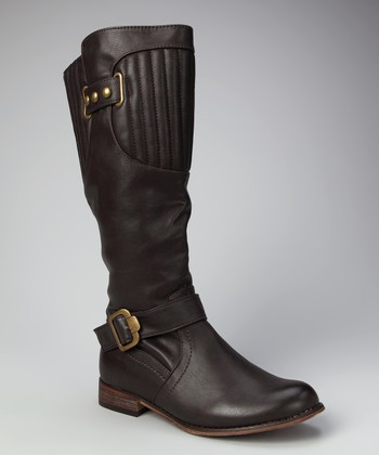 Coffee Double Buckle Knee-High Boot