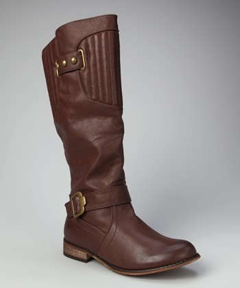 Cognac Double Buckle Knee-High Boot