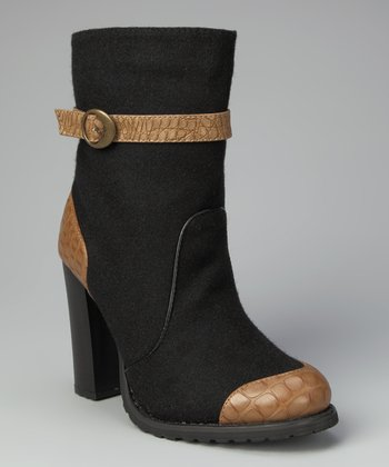 Black Chunky Heel Boot