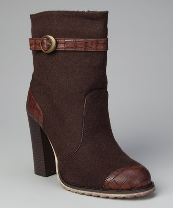 Brown Chunky Heel Boot