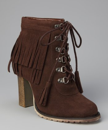 Brown Fringe Chunky Heel Ankle Boot