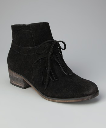 Black Fringe Ankle Boot