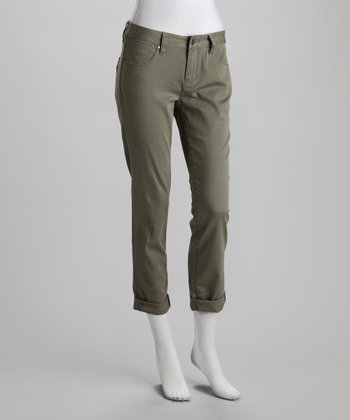 Caper Sage Dust Frances Slim Roll Cropped Pants