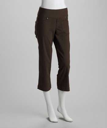 Caper Fossil Brown Dahlia Cropped Pants