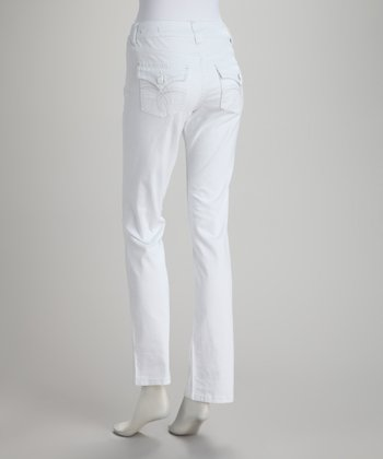 White Ruby Mid-Rise Straight-Leg Jeans