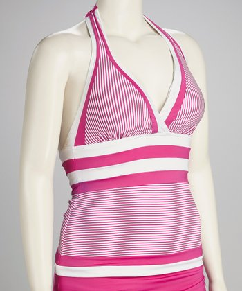 Sorbet Pink Stripe Full-Fit Halter Tankini Top