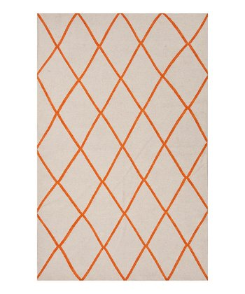 Gray & Orange Lattice Flat-Weave Wool Rug