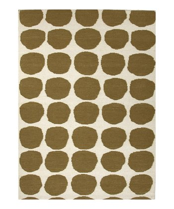 Green Circle Flat-Weave Wool Rug