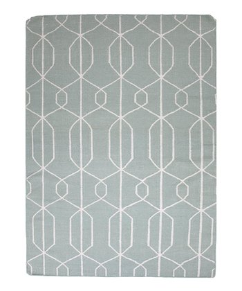 Blue & Gray Sound Wave Flat-Weave Wool Rug
