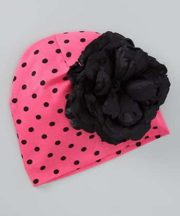 Candy Pink & Black Polka Dot Rose Beanie