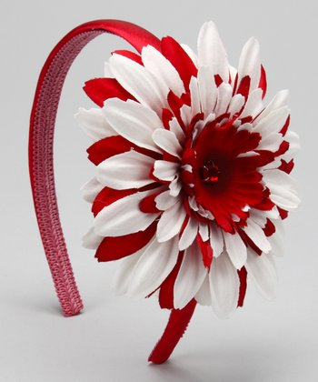 Red & White Daisy Headband