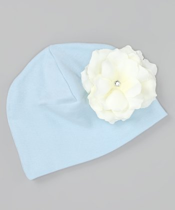 Baby Blue & White Rose Beanie
