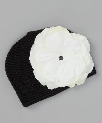 Black Crocheted Rose Beanie - Infant