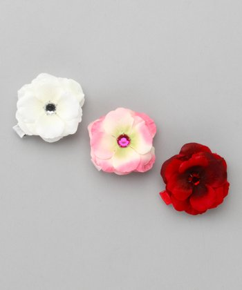 White, Red & Raspberry Sweetheart Rose Clip Set