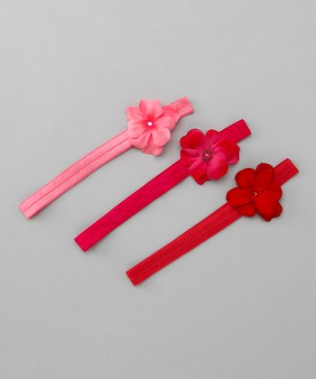 Pink & Red Sweetheart Geranium Flowerette Headband Set