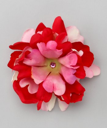 Pink & Red Peony Bloom Clip