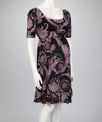 Black & Purple Paisley Flounce Maternity Dress