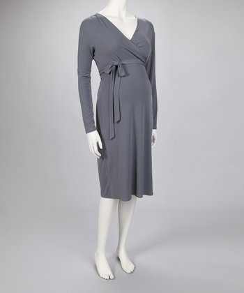 Gray Maternity Wrap Dress