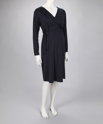 Navy Maternity Wrap Dress