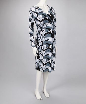 Gray Swirl Wrap Maternity Dress