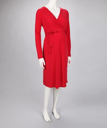 Red Wrap Maternity Dress