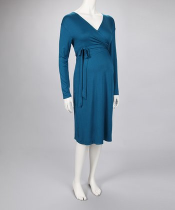 Teal Maternity Wrap Dress