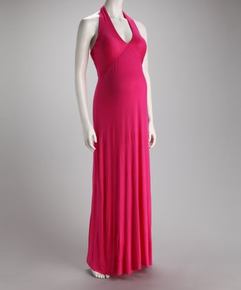 Fuchsia Maternity Halter Maxi Dress
