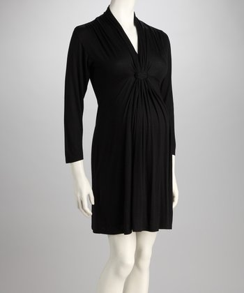 Black Knot-Front Maternity Long-Sleeve Dress