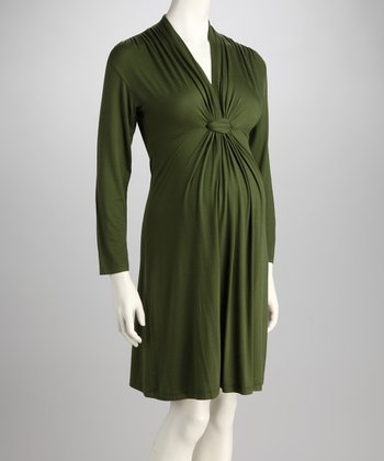 Olive Knot-Front Maternity Long-Sleeve Dress