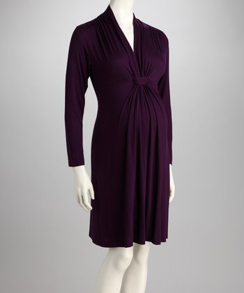 Purple Knot-Front Maternity Long-Sleeve Dress
