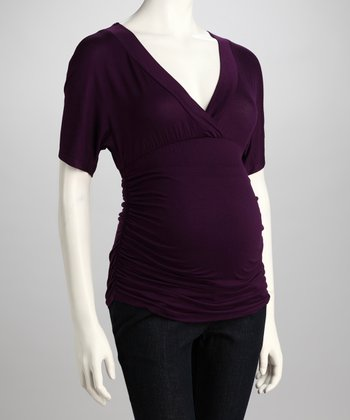 Purple Ruched Maternity Surplice Top - Women