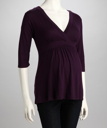 Purple Maternity Surplice Top