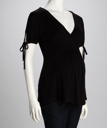 Black Drawstring Maternity Surplice Top