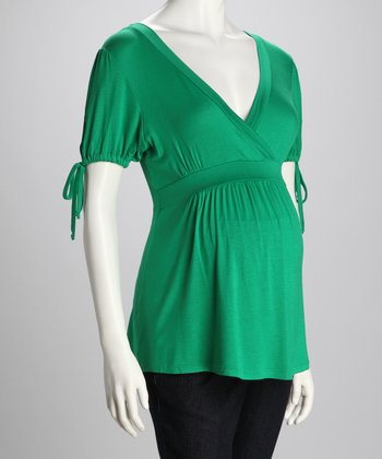 Green Drawstring Maternity Surplice Top
