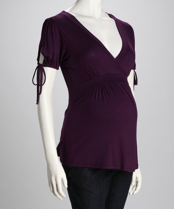 Purple Drawstring Maternity Surplice Top