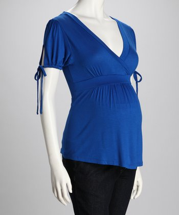 Royal Blue Drawstring Maternity Surplice Top