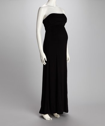 Black Fold-Over Maternity Strapless Maxi Dress