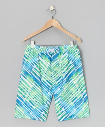 Blue Stripe Watercolor Boardshorts - Boys