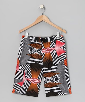 Black & Orange Abstract Boardshorts - Boys