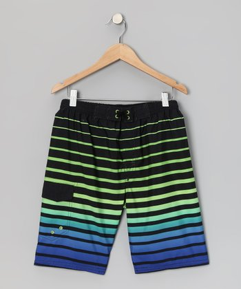 Black Sunrise Stripe Boardshorts - Boys