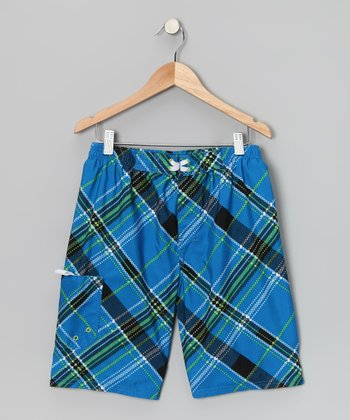Blue Plaid Boardshorts - Boys