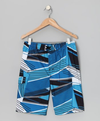 Blue Abstract Boardshorts - Boys